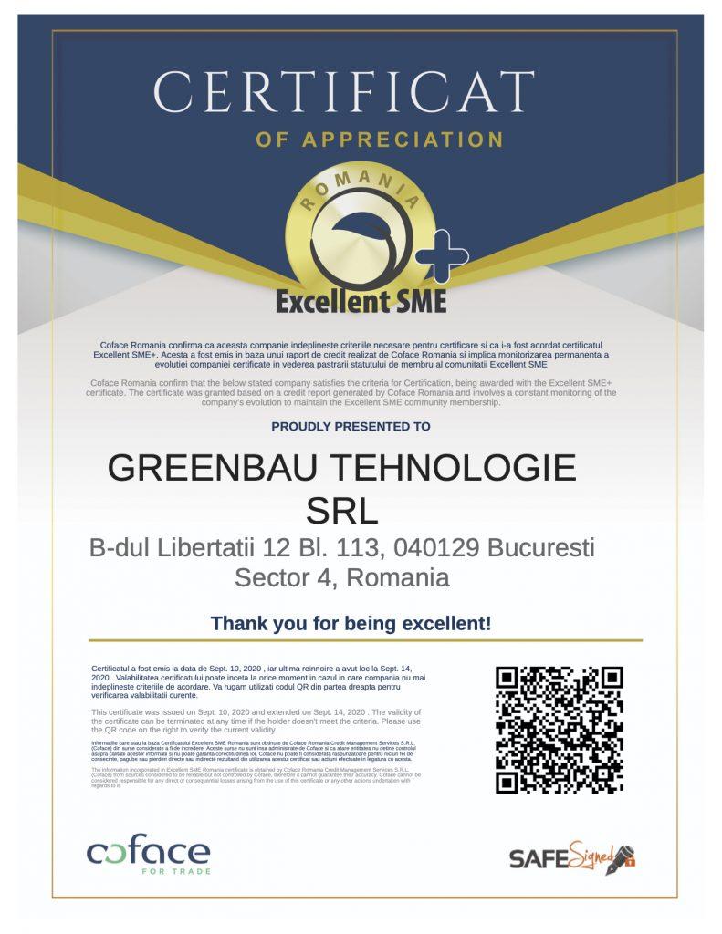 Certifcat Excellent SME - GreenBau Tehnologie SRL